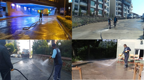 İzmit caddeleri koronavirüse karşı dezenfekte ediliyor