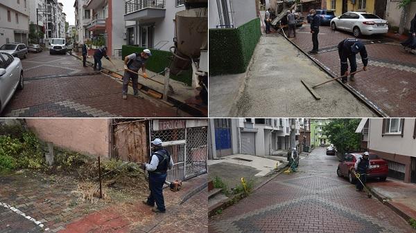 İzmit Belediyesinden sokaklarda kaldırım tamiri ve temizlik