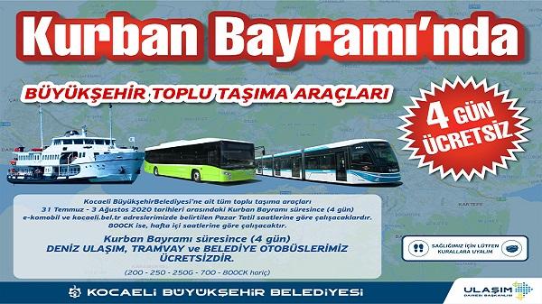 Photo of Ulaşım Kocaeli'de bayramda 4 gün boyunca ücretsiz