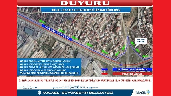 Kocaeli'de 300-301-306 ve 500 numaralı hatlarda güzergah değişikliği