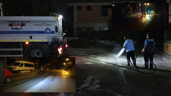 Photo of Koronavirüse karşı İzmit Belediyesinden gece mesaisi