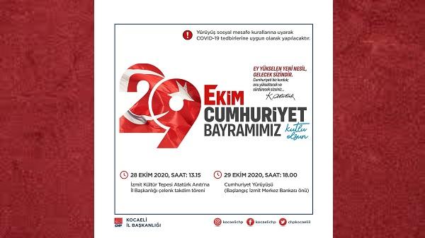"""Photo of CHP Kocaeli'den Sosyal Mesafeli """"Cumhuriyet Yürüyüşü"""""""