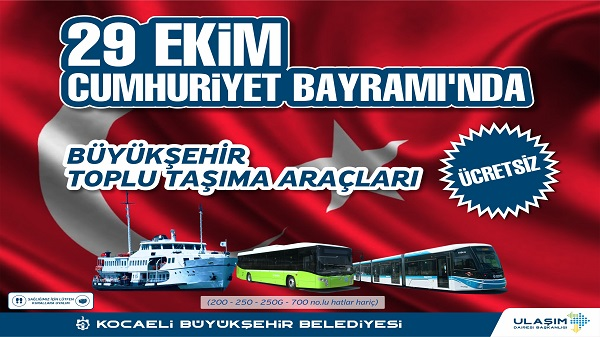 Photo of Kocaeli'de Toplu Ulaşım Araçları 29 Ekim'de Ücretsiz