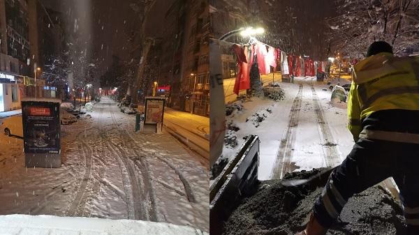 İzmit Belediyesinden Yürüyüş Yolu'nda kar mesaisi