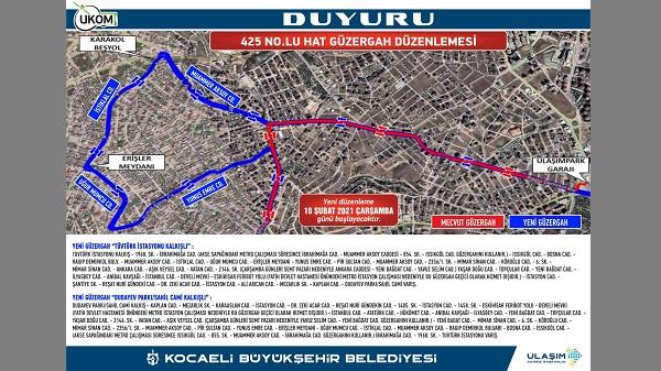 Photo of Kocaeli Büyükşehir 425 No'lu hattında güzergah değişikliği