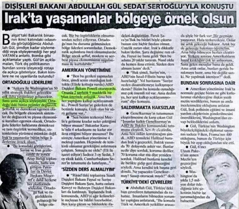 Abdullah Gül-24 Mayıs 2003 Vatan gazetesi ropörtaj