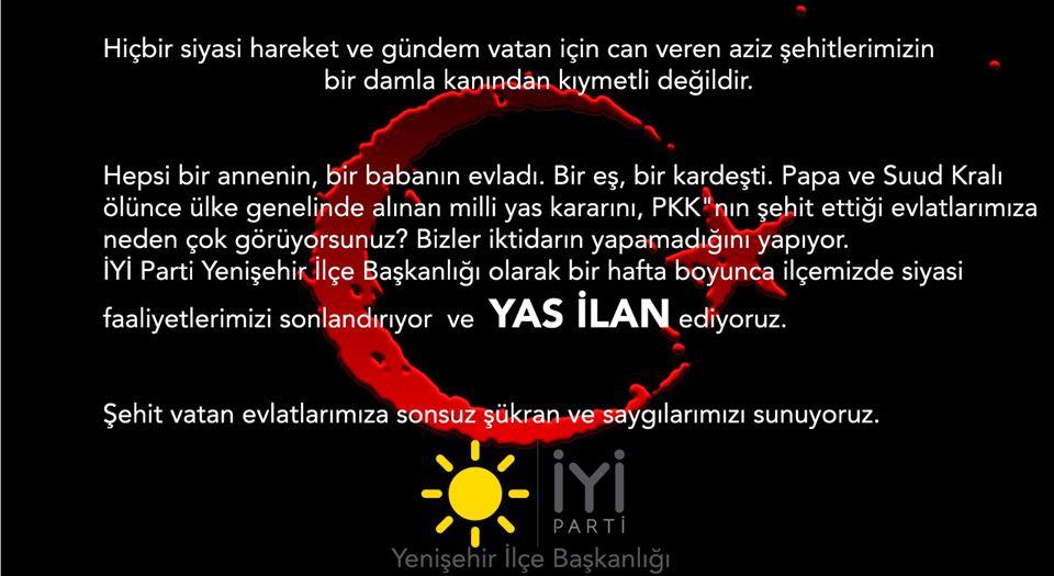 Photo of Bursa Yenişehir'de İYİ Parti siyasi faaliyetlerini durdurdu!